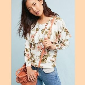 Anthropologie Harlyn Floral Ruffle Sweater